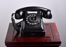 Czarny retro telefon Fotografia Royalty Free