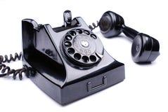 Czarny retro telefon obraz stock