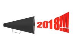 Czarny rocznika megafon z 2018 rok znakiem świadczenia 3 d Zdjęcia Royalty Free