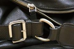 Czarny Rzemiennej torby zakończenie Up Obraz Stock