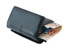 Czarny rzemienny portfel z banknotami Fotografia Royalty Free
