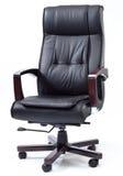 Czarny Rzemienny szefa krzesło Zdjęcia Royalty Free