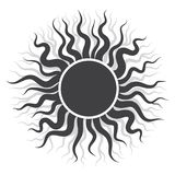 Czarny słońce logo w wektorowej ilustraci Fotografia Royalty Free