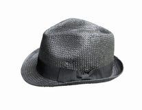 Czarny słomiany kapelusz Fotografia Royalty Free