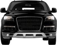 Czarny samochód odizolowywający na białym tle, frontowy widok Zdjęcie Royalty Free