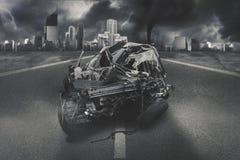 Czarny samochodowy dostaje wypadek na drodze zdjęcie stock