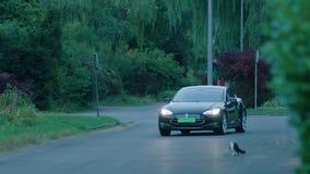 Czarny samochodowy przybycie od krzywy zdjęcie wideo