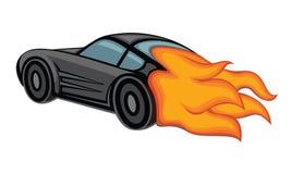 Czarny samochodu ogień ilustracji