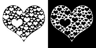 czarny serca odosobniony biel Obrazy Stock