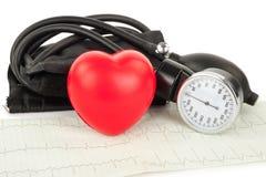 Czarny serce i, kardiogram Fotografia Stock
