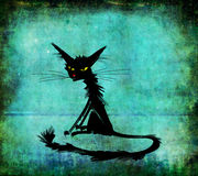 Czarny Siedzący kot z Żółtymi oczami Obrazy Royalty Free