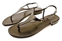 czarny skóry s sandała buta kobiety Obrazy Royalty Free