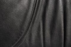 Czarny skóry tekstury tło Fotografia Royalty Free