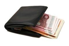 czarny skórzany portfel. Zdjęcie Stock