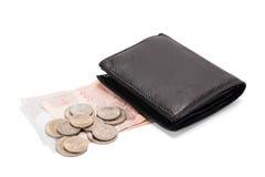 czarny skórzany portfel Zdjęcia Stock