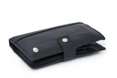 czarny skórzany portfel Zdjęcie Royalty Free