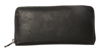 czarny skórzany portfel Obrazy Stock
