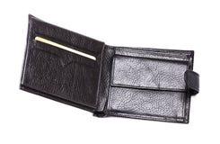 czarny skórzany portfel Obraz Stock