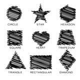 Czarny skrobanina kształt Zdjęcie Royalty Free