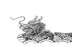 Czarny smok wykładający wzór royalty ilustracja