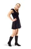czarny smokingowa dziewczyna kuje trwanie velure Fotografia Stock