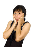 czarny smokingowego spojrzenia seksowna niespodzianki kobieta Fotografia Stock