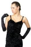 czarny smokingowy mody dziewczyny skrót Obrazy Royalty Free