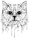 Czarny spiderweb sylwetki głowy kot Halloweenowy akcesorium ilustracja wektor