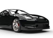 Czarny sporta samochód na Białym tle - Frontowy zbliżenie Obraz Royalty Free