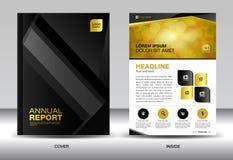 Czarny sprawozdanie roczne szablon, okładkowy projekt, broszurki fl yer, informacja g Zdjęcie Stock