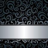 Czarny & srebny luksusowy rocznik tapety tło Zdjęcia Royalty Free