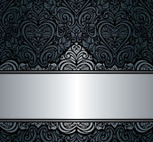 Czarny & srebny rocznika zaproszenia tła projekt Zdjęcia Stock
