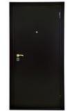 Czarny stalowy zbawczy drzwi nad białym tłem, zdjęcia royalty free