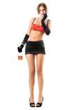 czarny stanika ładna czerwieni spódnicy kobieta Obrazy Royalty Free