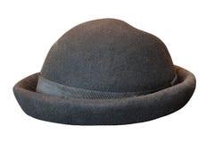 Czarny stary kapelusz odizolowywający na bielu Fotografia Royalty Free