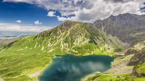 Czarny Staw Gasienicowy Lake in summer, Tatra Mountains, Poland stock footage