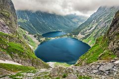 Czarny Staw pod Rysami and Morskie Oko lakes in Tatra Mountains. Czarny Staw pod Rysami Black Lake below Mount Rysy and Morskie Oko lakes in Tatra Mountains stock image