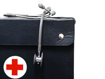 Czarny stetoskop i torba insolated na białym backgound obrazy stock