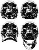 Czarny straszny graficzny ludzki czaszka tatuażu set royalty ilustracja