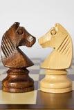 czarny szachowy koński biel Obrazy Stock