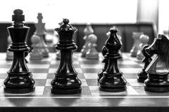 Czarny szachy set Zdjęcia Royalty Free