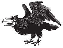 Czarny szalony kreskówka kruka charakteru projekt ilustracja wektor