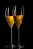 czarny szampański szkło odizolowywał Obrazy Stock