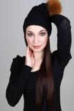 czarny szczęśliwa kapeluszowa kobieta Obraz Royalty Free