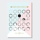 Czarny sześciokąt projektujący graniczy emblematy ustawiających na trójboka błękicie, różowy plakat ilustracji