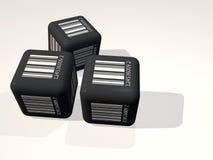Czarny sześcian z Barcode Fotografia Royalty Free