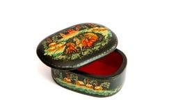 czarny szkatuła malujący rosjanin drewniany Zdjęcie Royalty Free