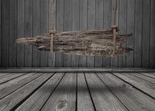 Czarny sztandar drewno w wnętrzu Obraz Royalty Free