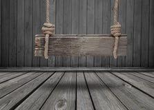 Czarny sztandar drewno w wnętrzu Fotografia Royalty Free