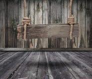 Czarny sztandar drewno w wnętrzu Obrazy Royalty Free
